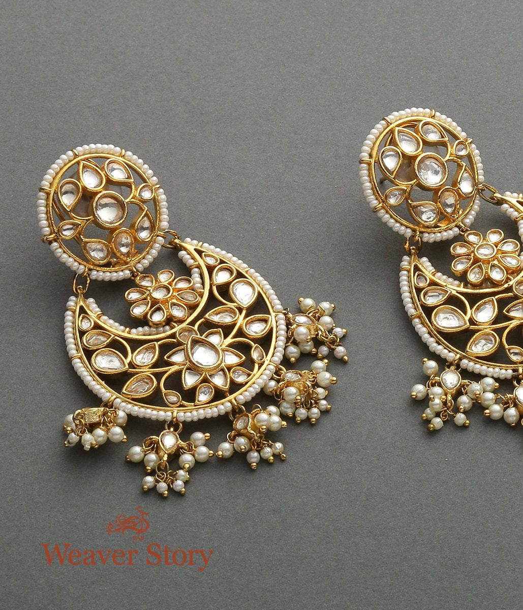 Golden Kundan Chandbala with Floral Design