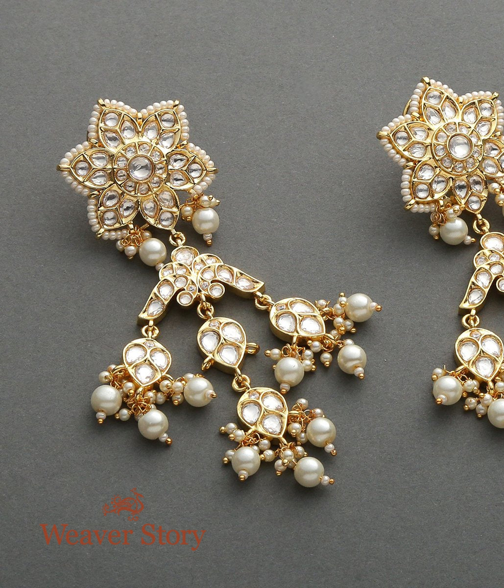 Golden Kundan Earrings with Flower Studd
