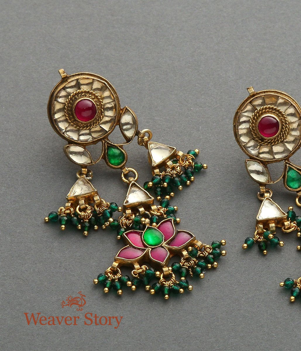 Kundan Earrings with Lotus drops