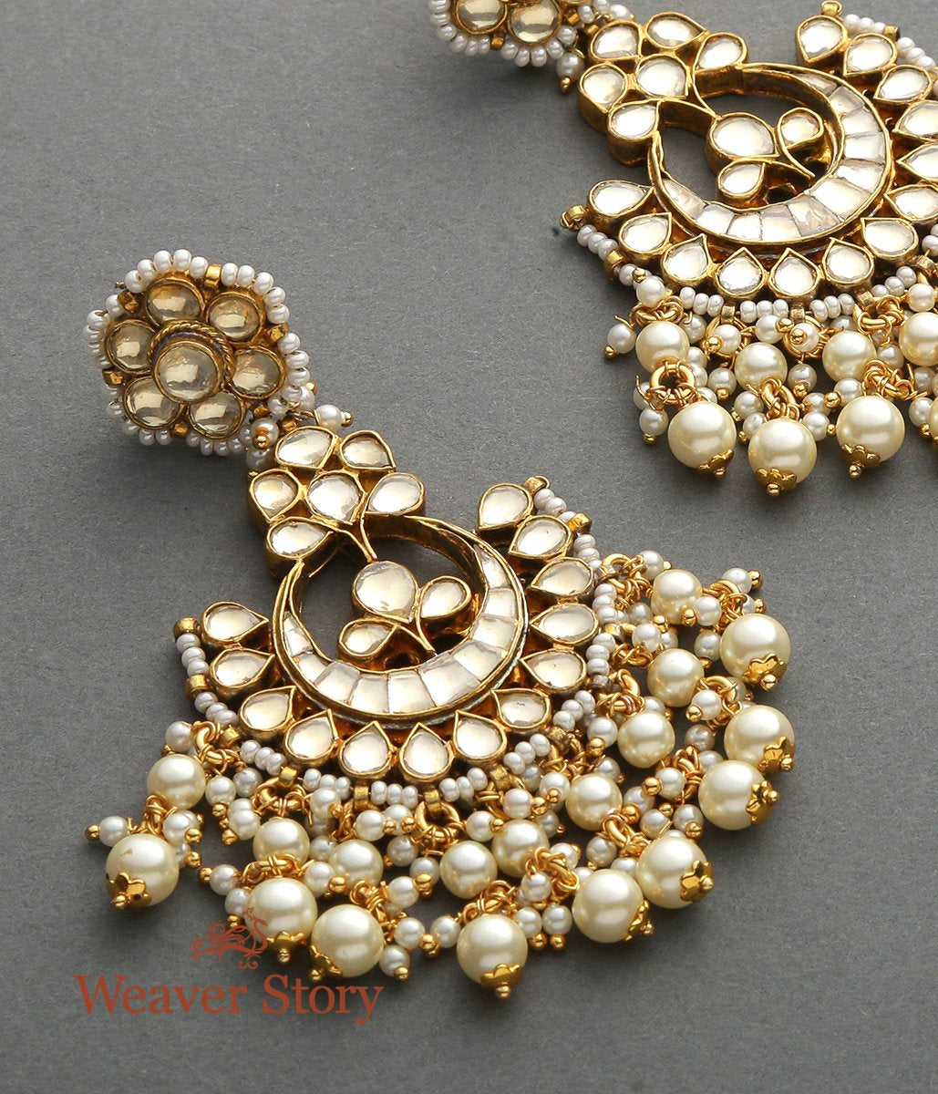 Golden Kundan Chandbala with Pearl Hangings