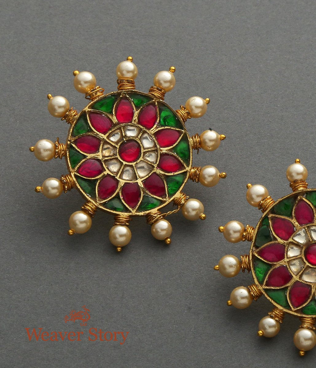 Circular Stud Earrings with Kundan and Enamelled centre and Pearl Drop Finishing