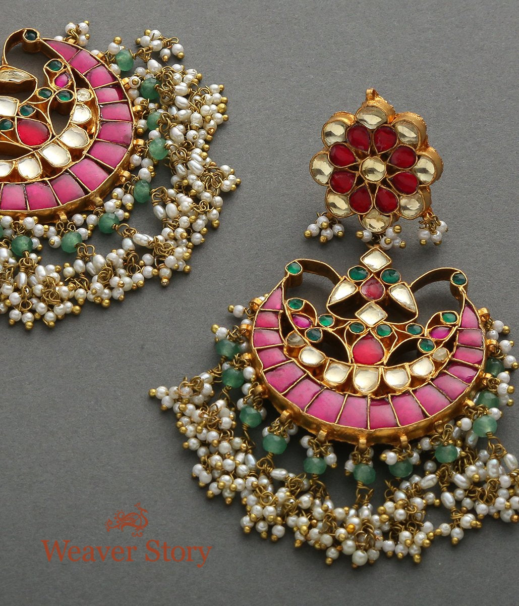 Red and Green Stone Big Chandbala with Pearl Drops