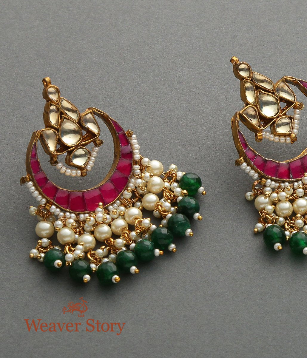 Crescent Shaped Studds with Pearl Drops