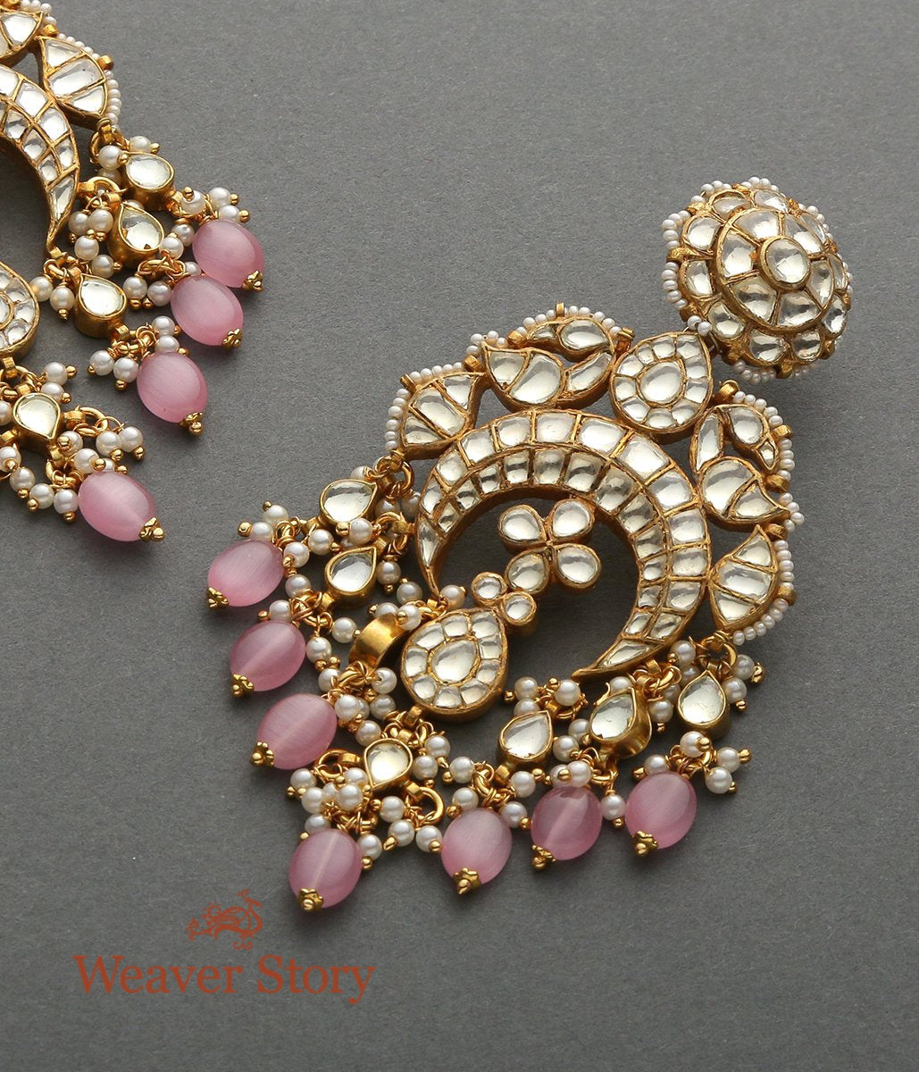 Golden Kundan Chandbala with Rose Pink Stones