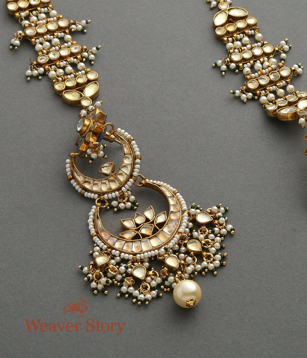 Kundan Dangler Earrings with Elaborate Ear chains