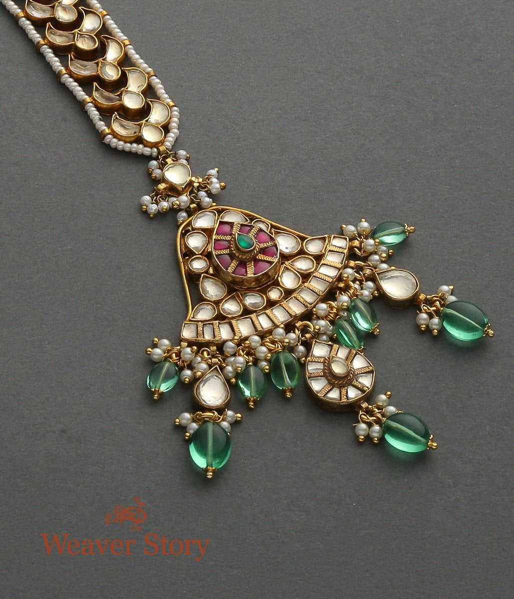 Kundan Maang Tikka with Emerald Drops