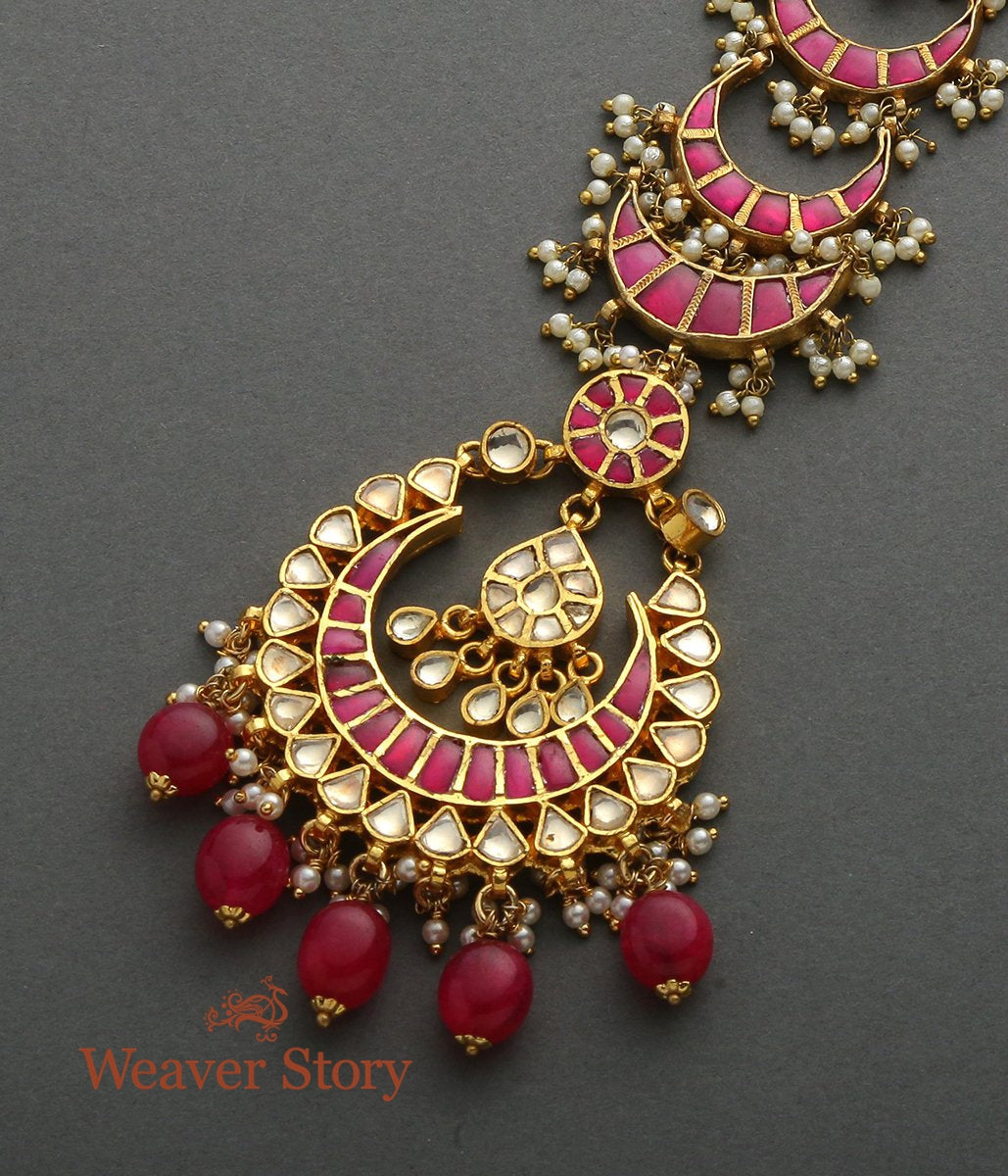Red Kundan Crecent Tikka