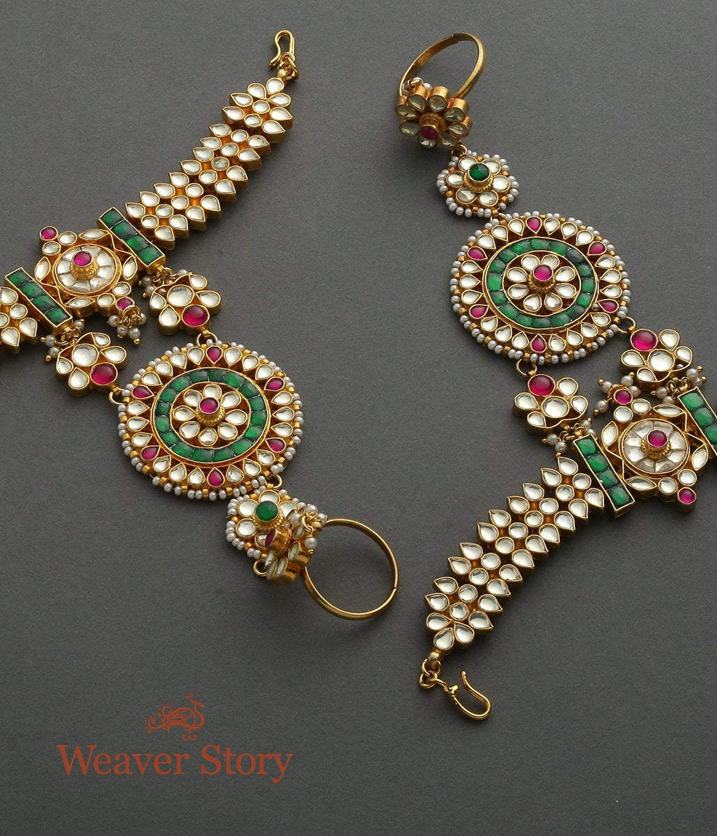 Heavy Kundan Hathphool with Red and Green Toumalines - set of 2