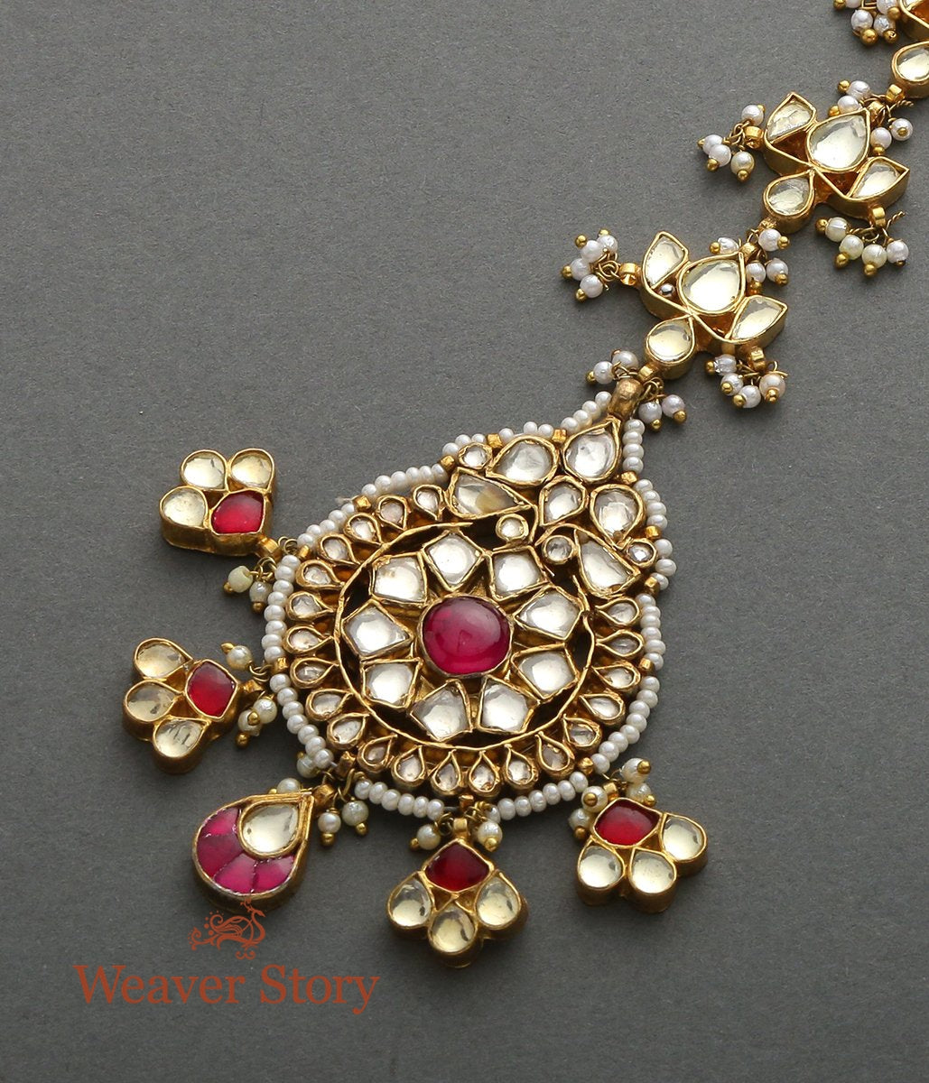 Golden Kundan Round Tikka with Floral Drops