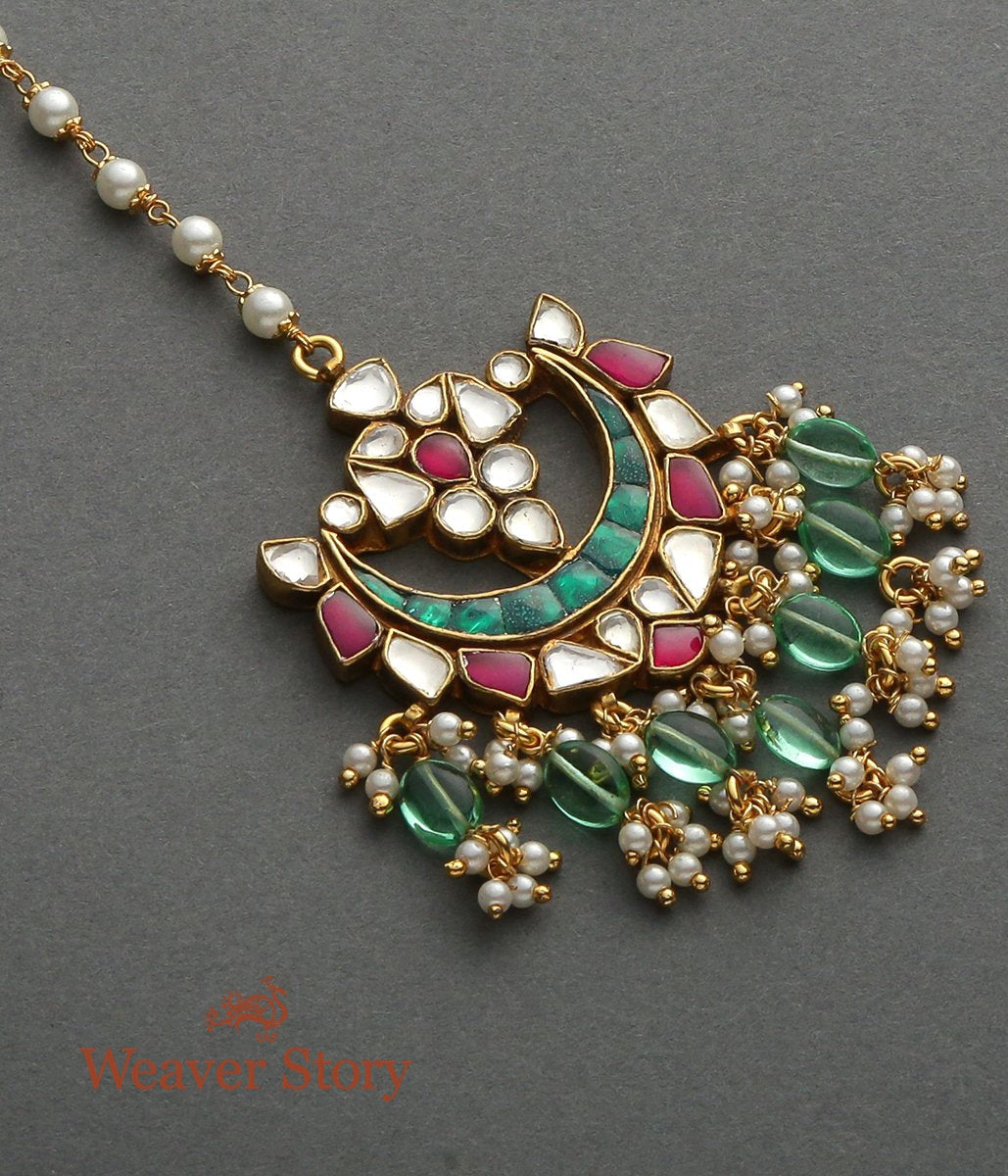 Crescent shaped Kundan Tikka with Ruby and Emeralds