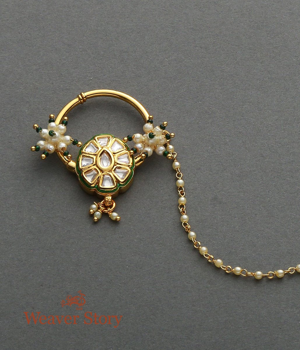 Oval Kundan Nath with Pearls