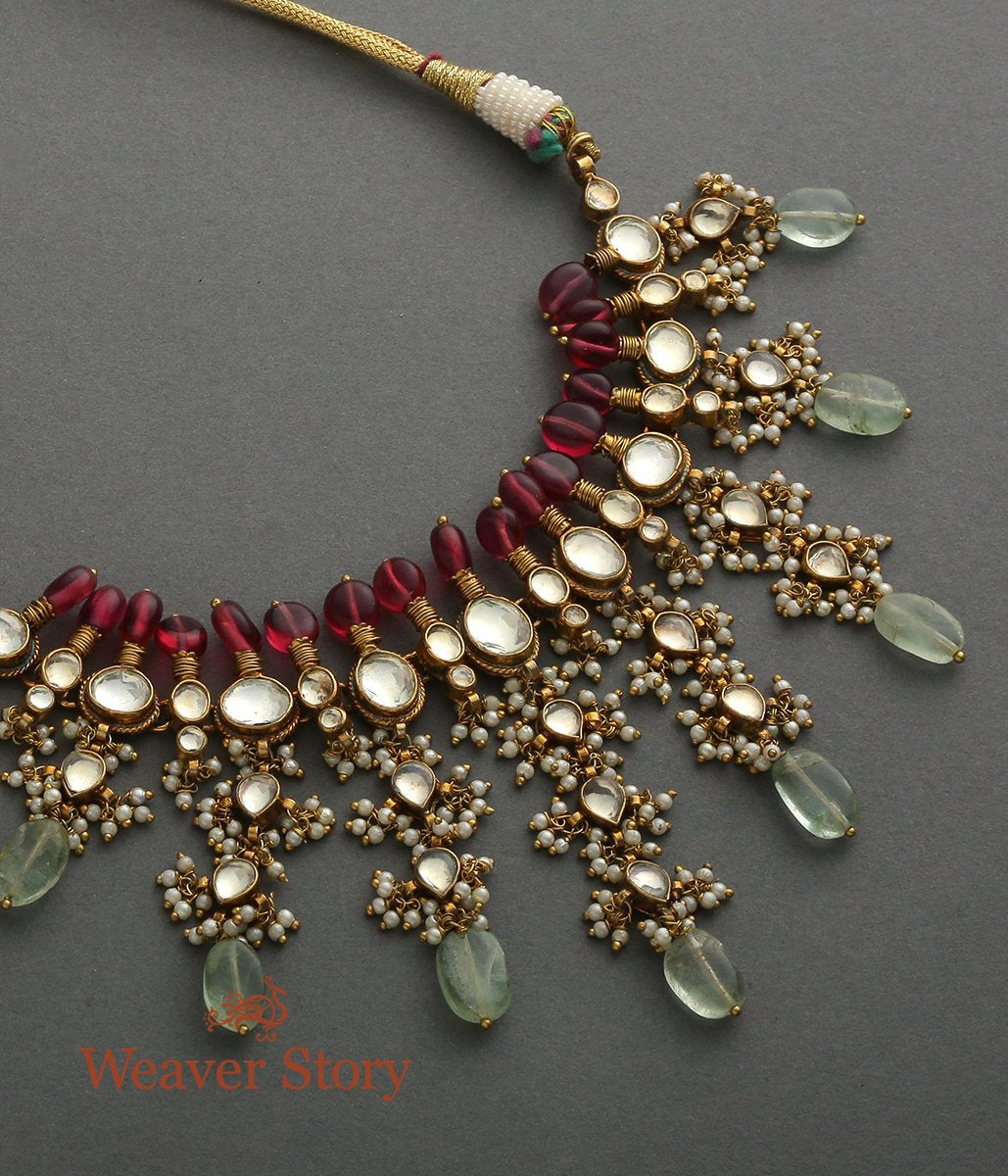 Antique Kundan Setting Necklace with Red and Green Tourmalines