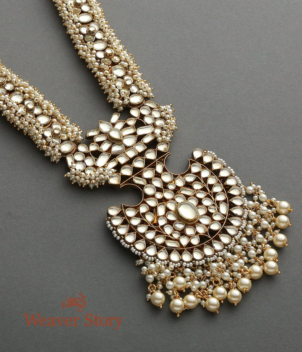 Golden Kundan Haar with Fan Shaped Pendant