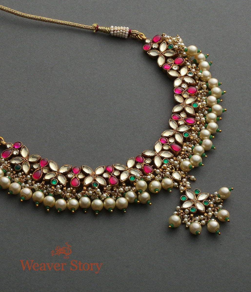 Floral Kundan Necklace with Rubies and Emeralds