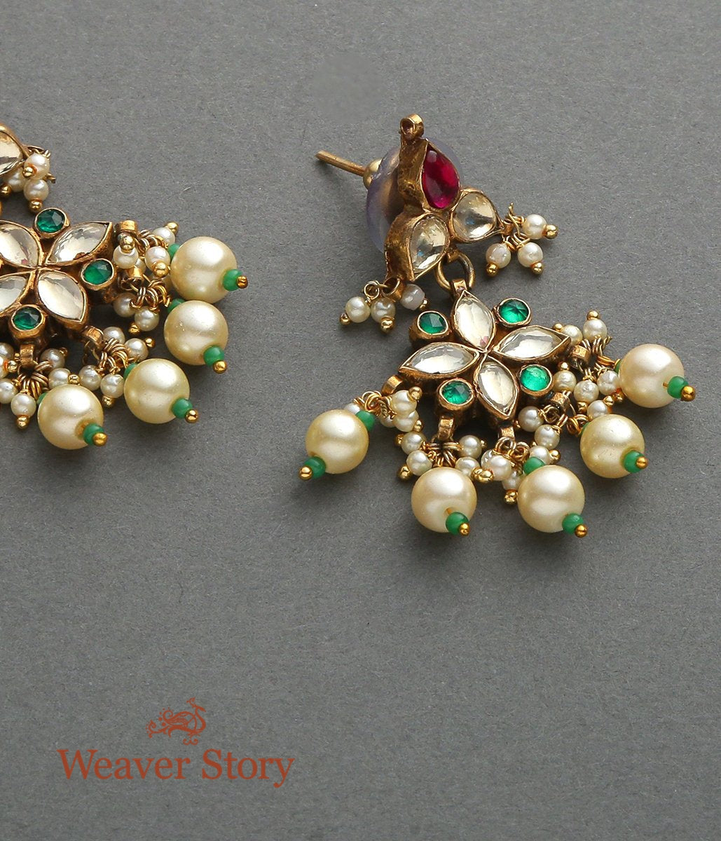Floral Kundan Earrings with Rubies and Emerald Stones