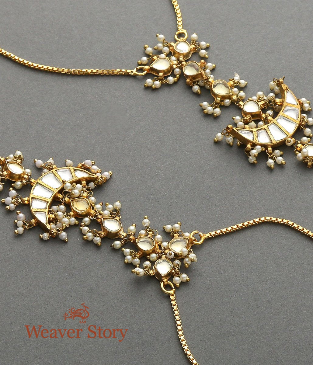 Golden Kundan Hathphool with Crescent Element - set of 2