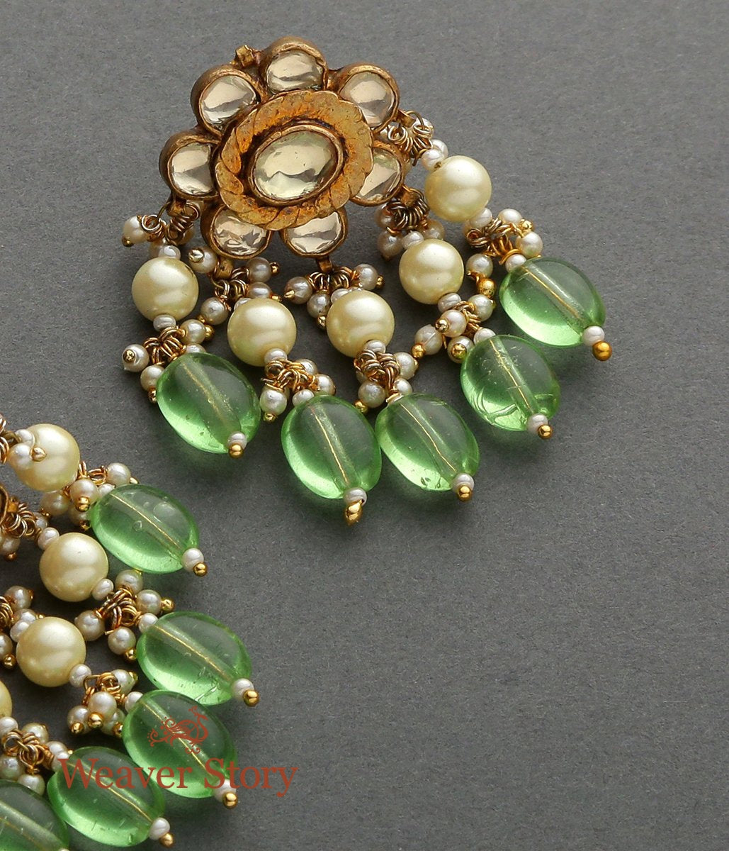 Golden Kundan Studds with Emerald Drops