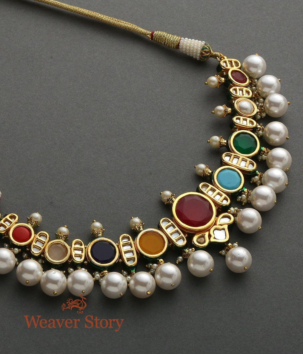 Navrattan Kundan Necklace Set