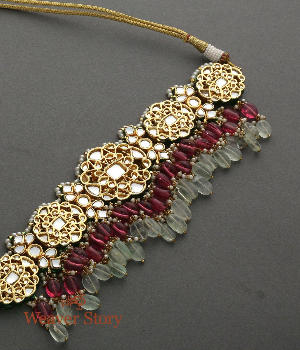 Kundan Setted Necklace with Pink and Green Stone Drops