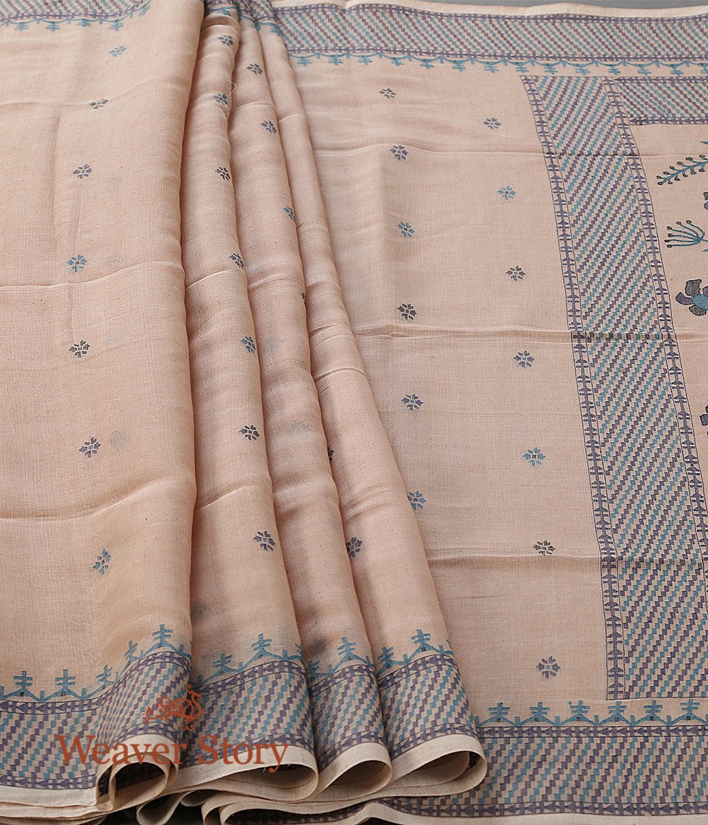 Beige Hand Spun and Hand Woven Cotton Jamdani Saree with Natural Indigo and Black Thread Weave