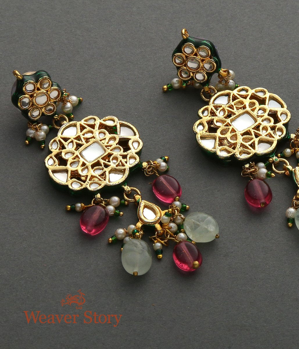Kundan Earrings with Red and Green Tourmalines
