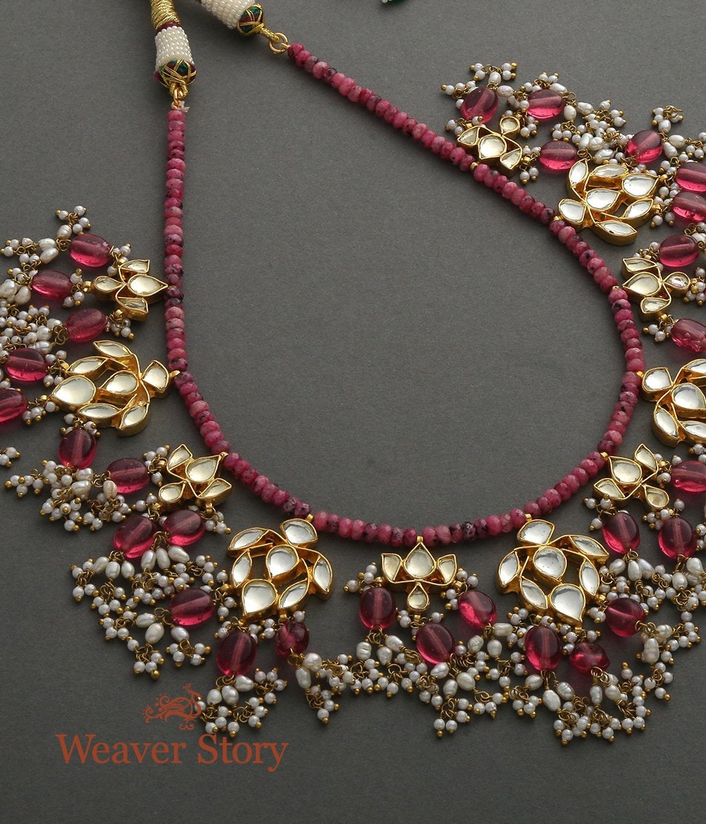 Ruby Laddi Necklace with Kundan Pendants