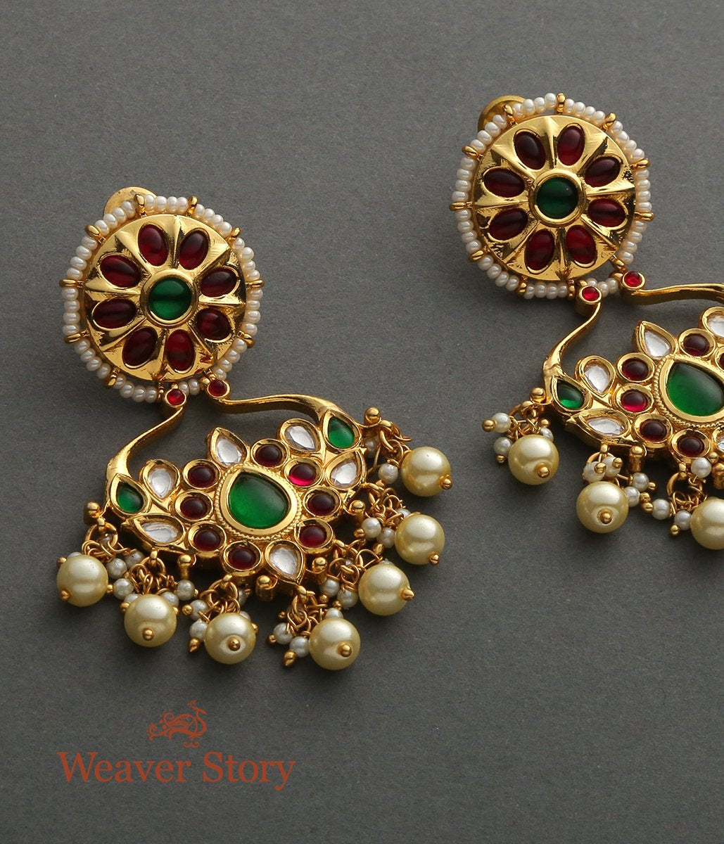 Golden Chandbala Earrings with Green and Red Stones