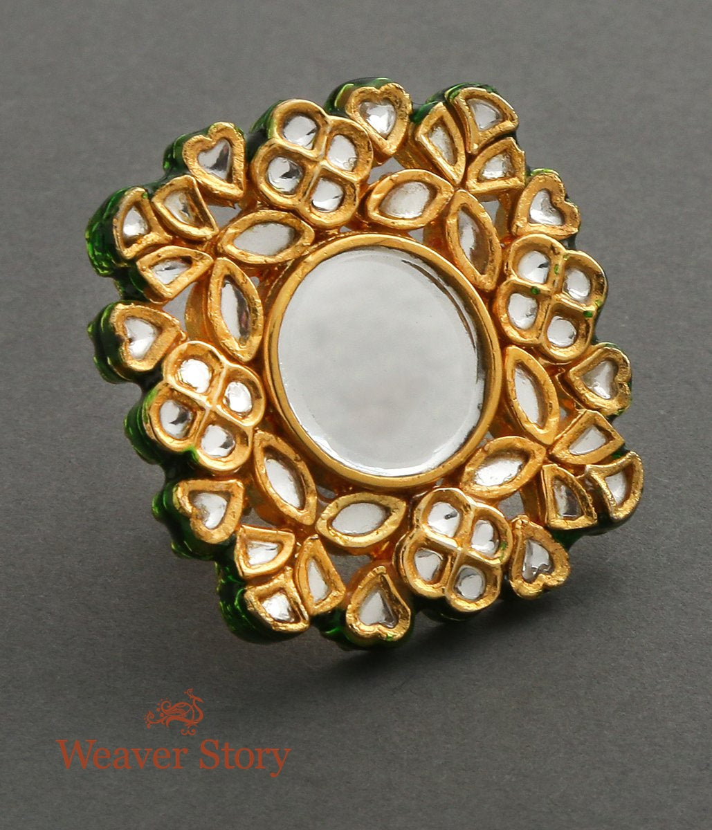 Golden Kundan Finger Ring with Mirror Center Piece