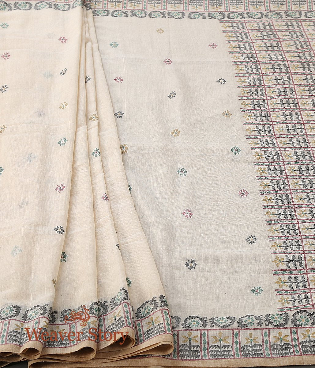 Beige Hand Spun and Hand Woven Cotton Jamdani Saree with Mustard and Black Thread Weave