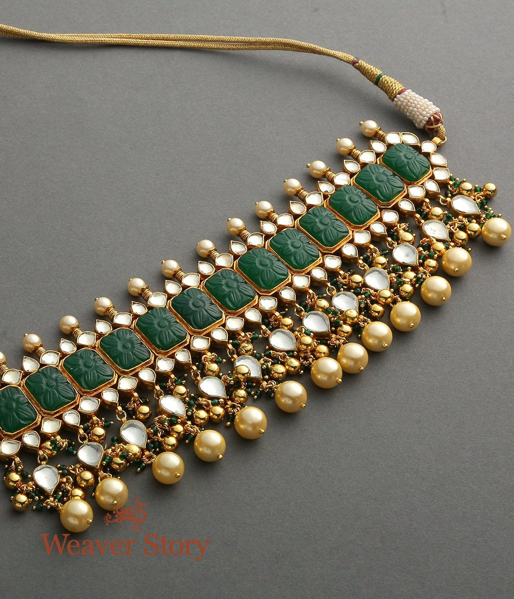Kundan Necklace with Carved Emeralds