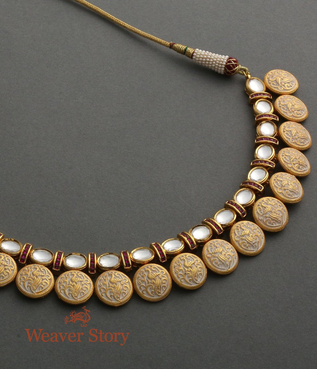 Kundan Necklace with Enamelled Base