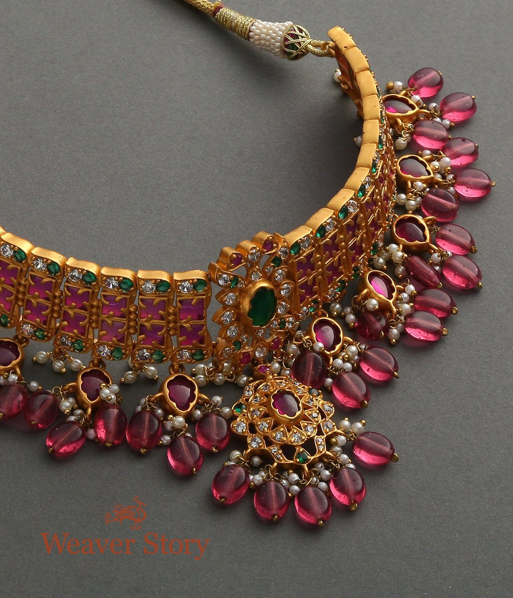 Golden Choker Necklace Red and Green Tourmalines