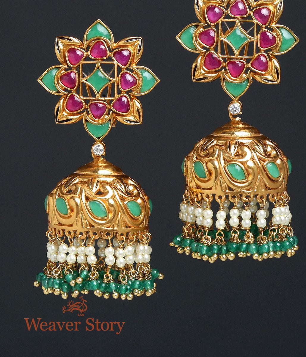 Green and Red Stone Jhumka Earrings
