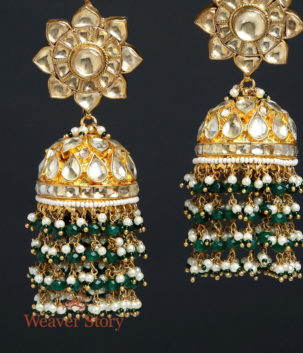 Golden kundan Jhumki with Emeralds