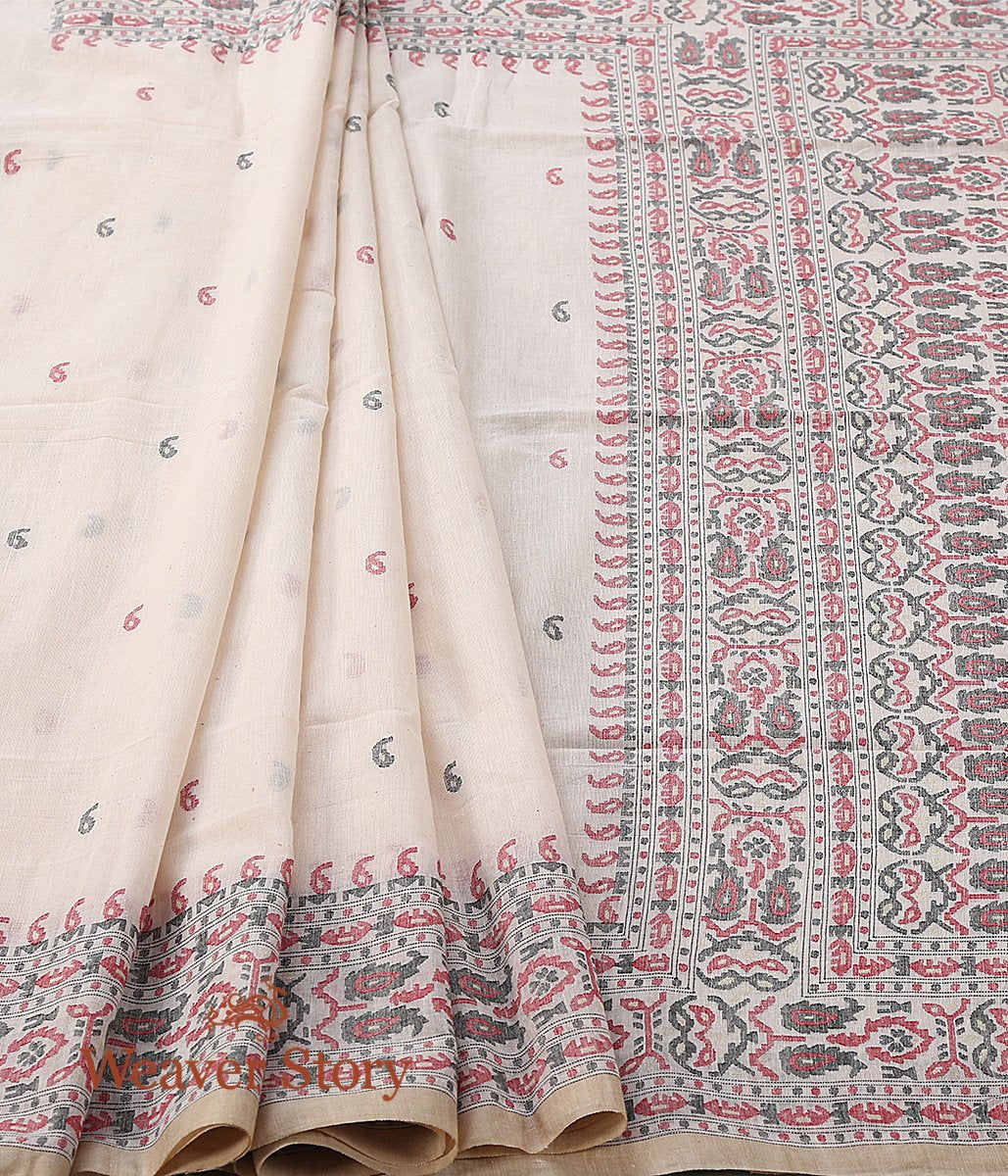 Beige Hand Spun and Hand Woven Cotton Jamdani Saree with Red and Black Thread Weave