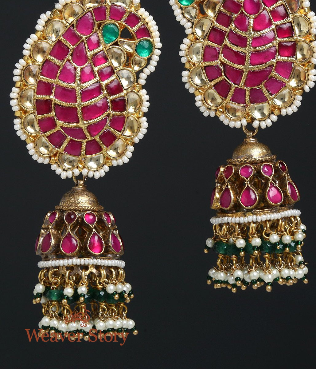Paisley Jhumka Earrings with Pearl Drops