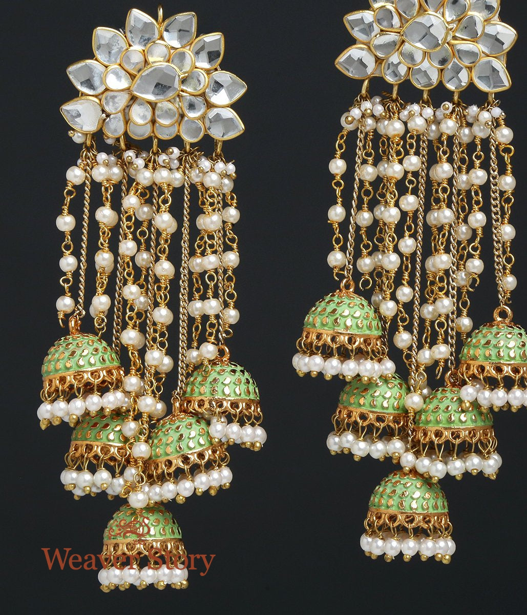 Enamelled Jhumkas with Kundan Pacchi Settings