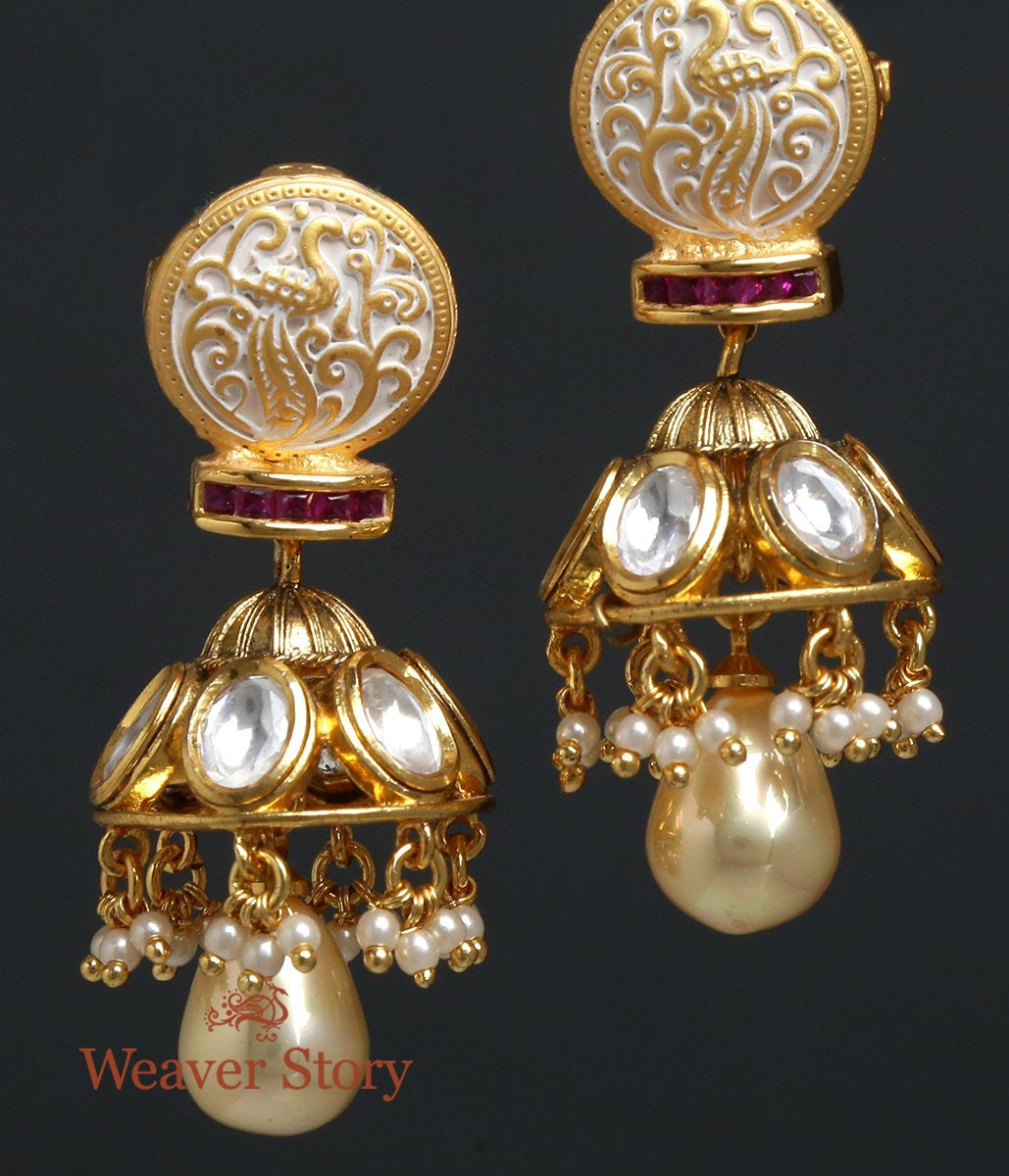 Golden Jhumkas with Paisley Motif