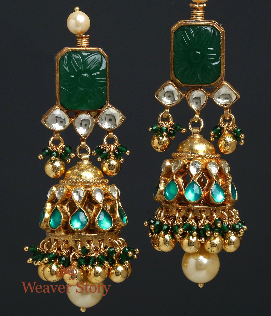 Carved Emerald Jhumka Earrings