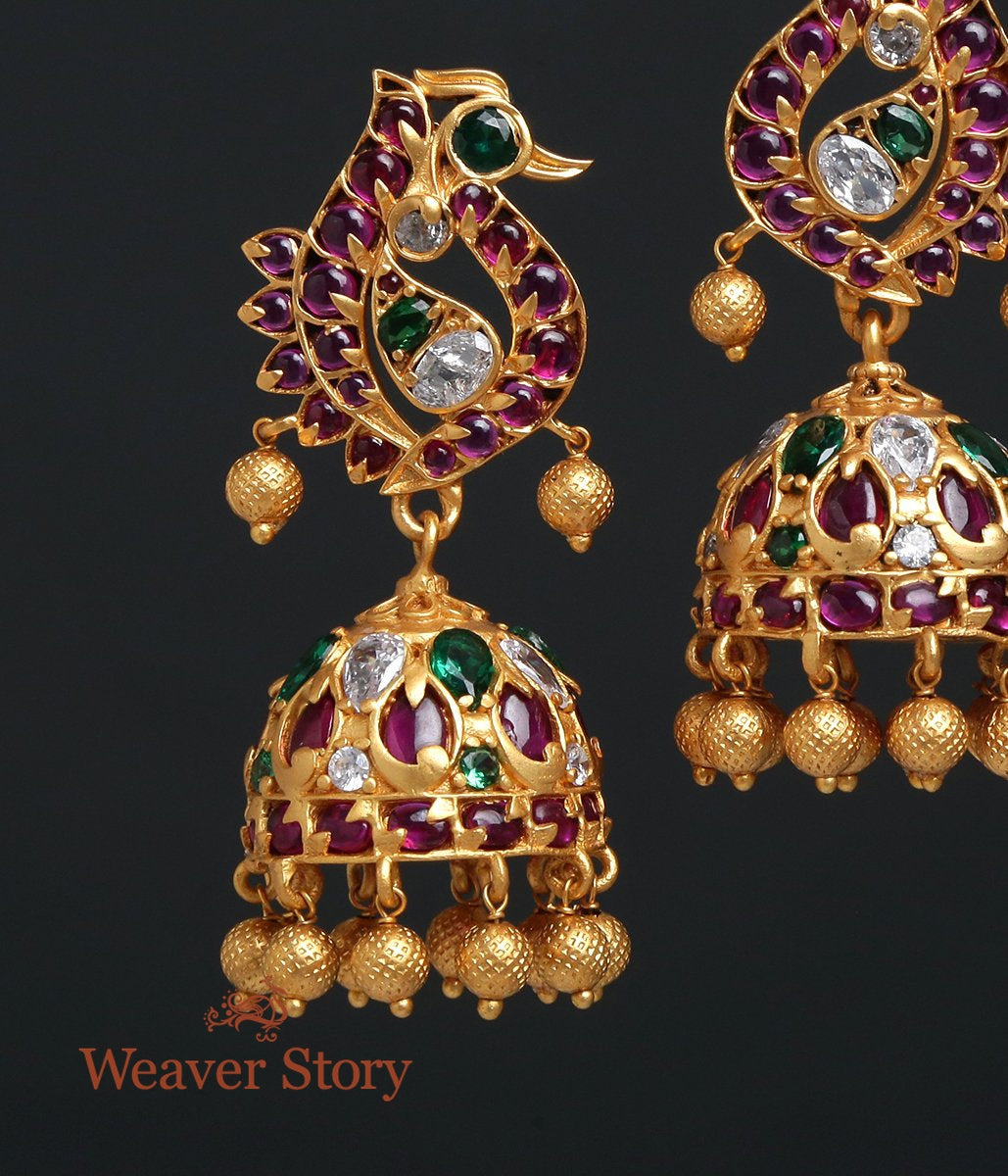 Golden Jhumka with Red and Green Toumalines