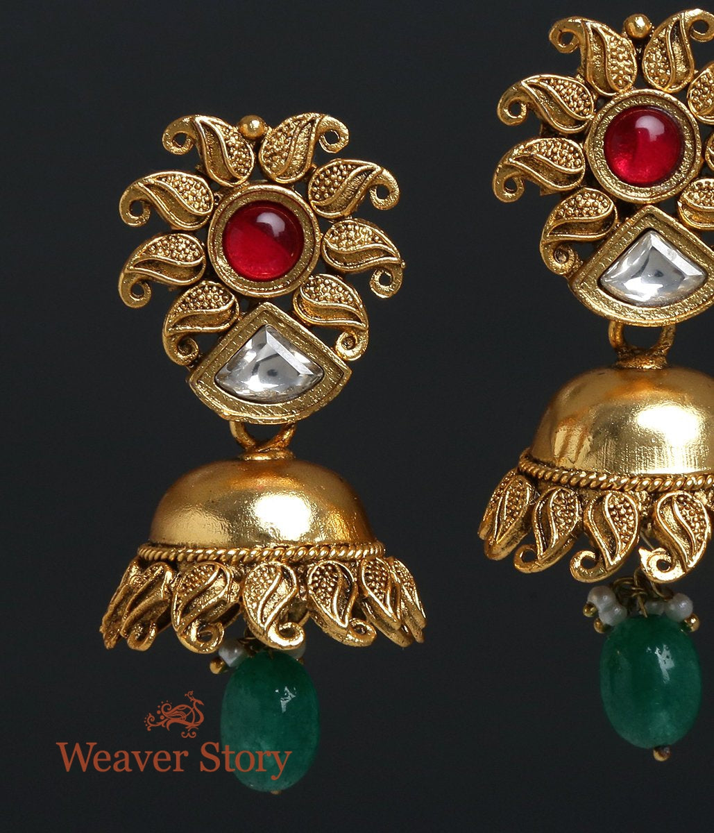 Golden Jhumka Earring with Paisley Motifs