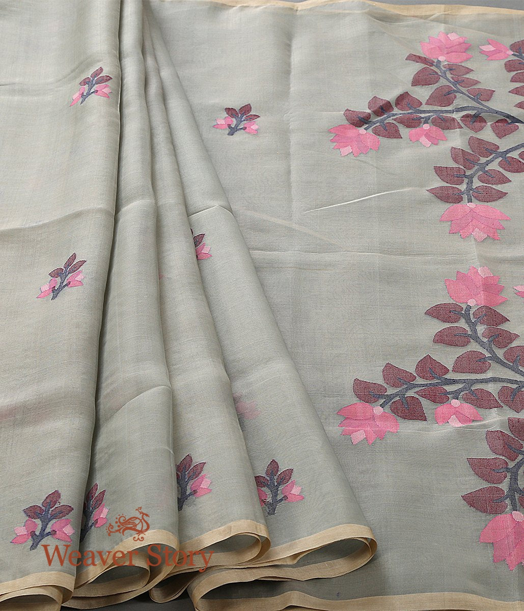 Handwoven Olive Green Muslin Jamdani Saree with Floral Pallu