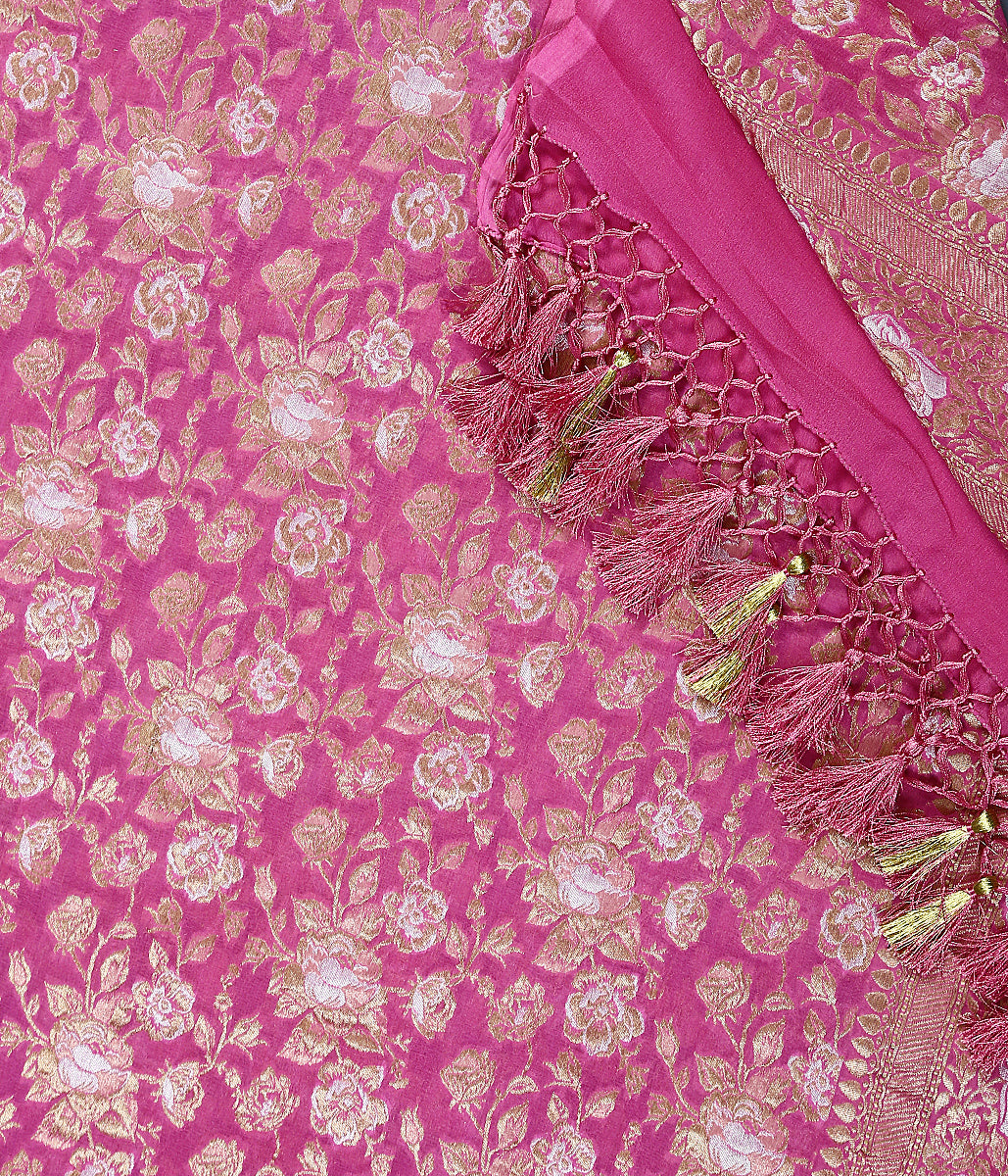 Rose Pink Banarasi georgette dupatta with gold and silver zari jangla
