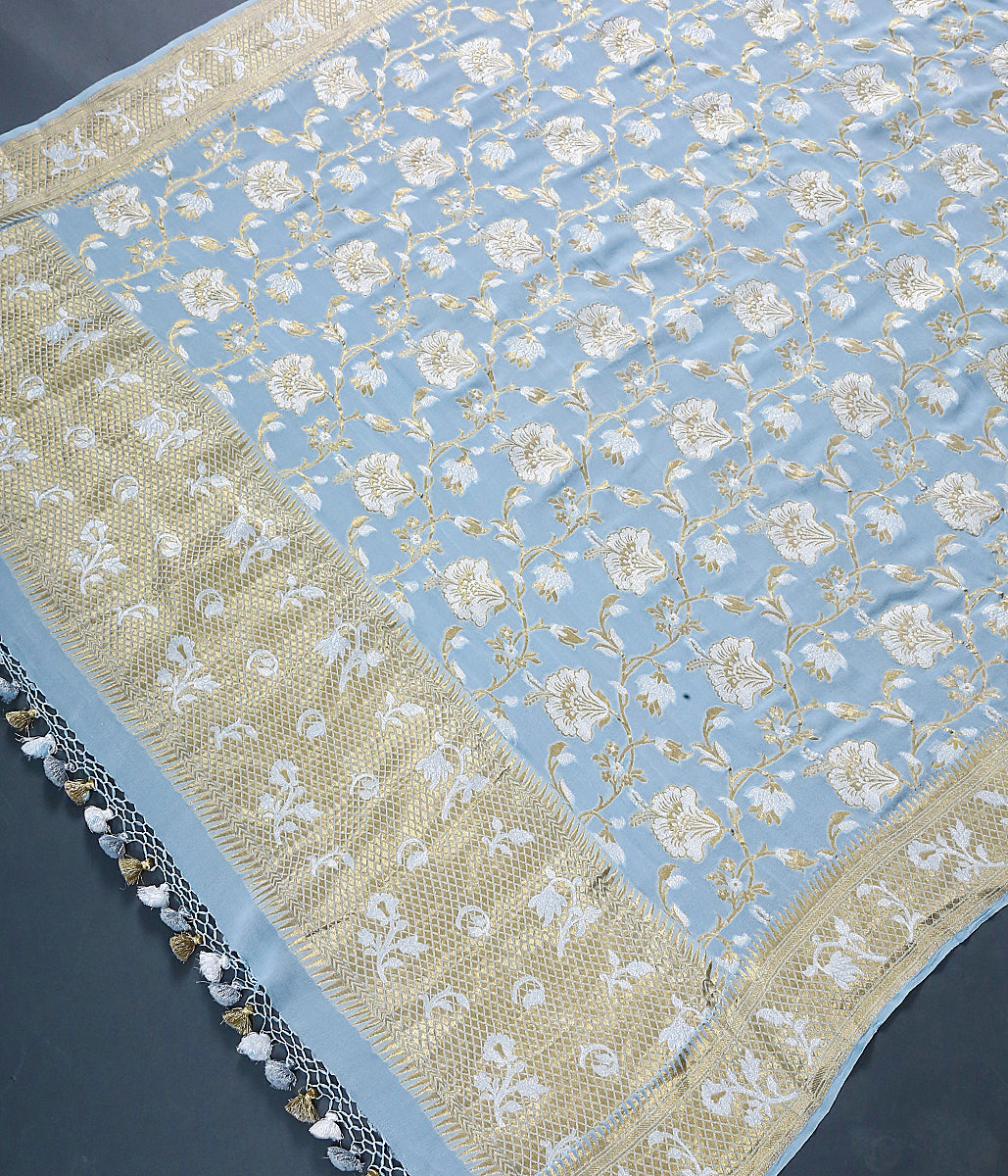Powder Blue Banarasi georgette dupatta with gold and silver zari floral jaal