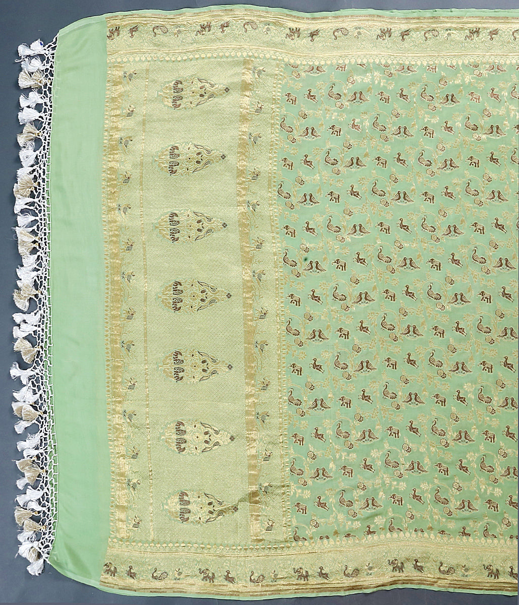 Light green meenakari shikargah dupatta