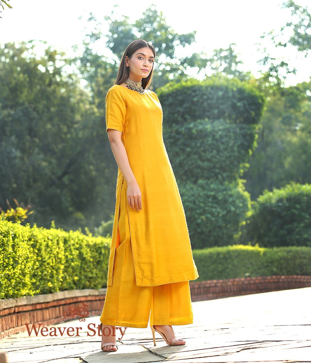 Mustard Munga Silk Kurta With Maroon Angarkha Jacket and Wide Leg Pants