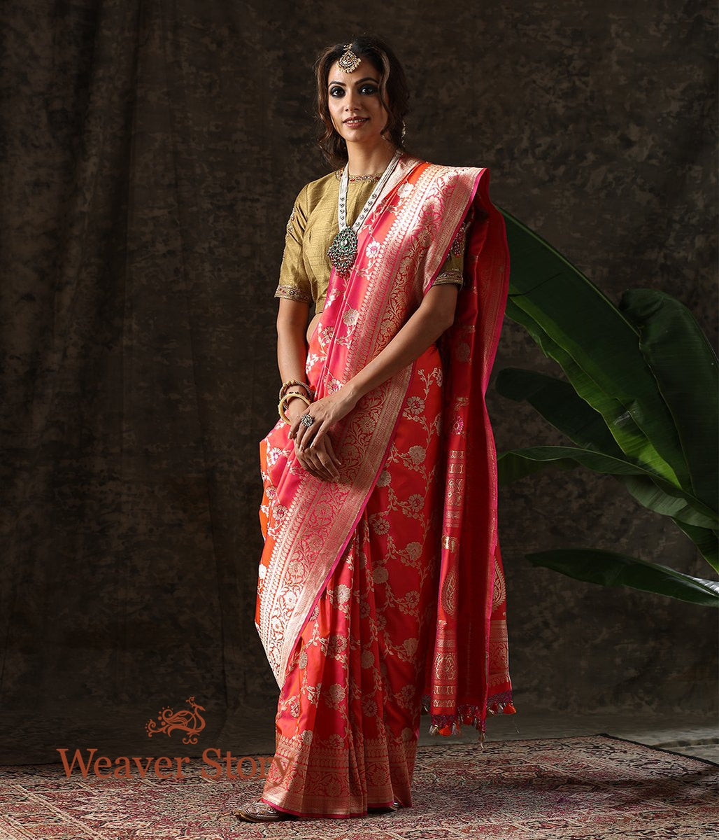 Handwoven Pink and Orange Dual Tone Banarasi Jangla with Meenakari