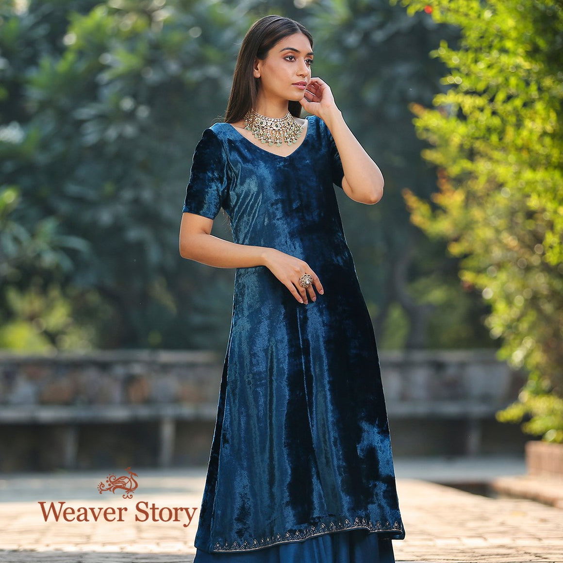 Teal Blue Silk Velvet Kurta with Hand Embroidered Zardozi Detailing and Sharara