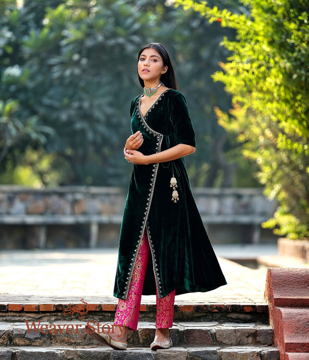 Green Silk Velvet Kurta with Hand Embroidered Zardozi Detailing and Pink Brocade Pants