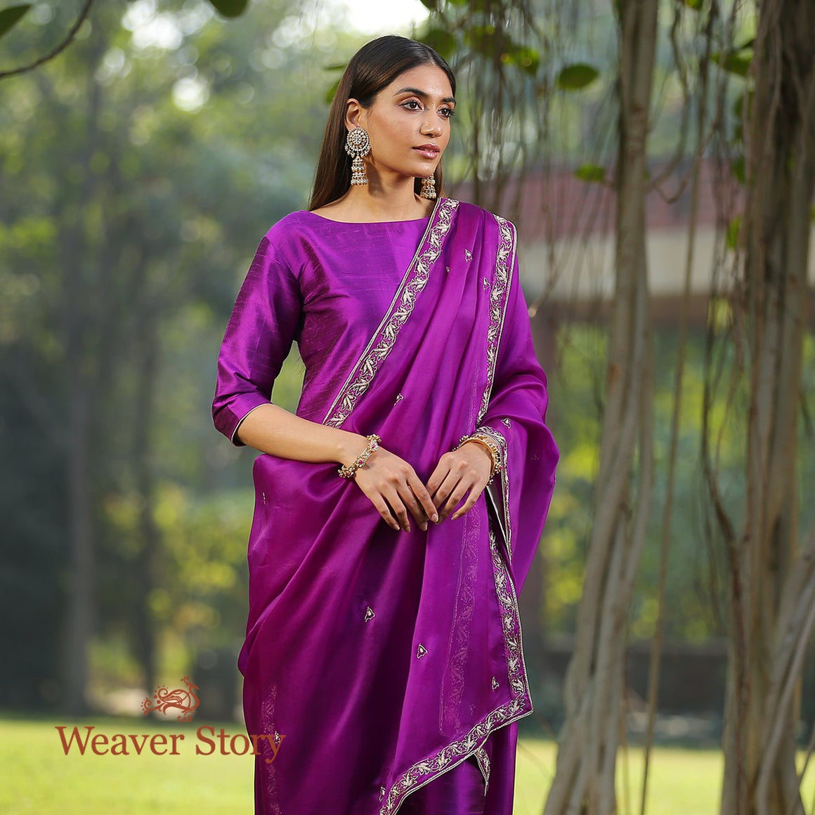 Purple Raw Silk Kurta With Zardozi Detailing and Zardozi Dupatta